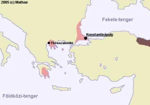 A Bizánci Birodalom 1400 környékén. Forrás: Wikipédia