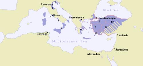 A Bizánci Birodalom 717-ben. Forrás: Wikipédia
