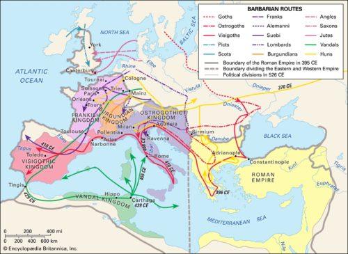 Népvándorlás (barbár törzsek) a Római Birodalomban. Forrás: Encyclopedia Britannica