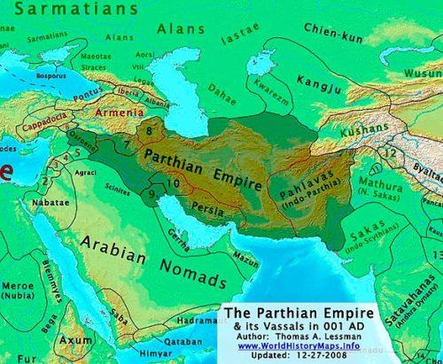 A Pártus Birodalom az időszámítás kezdetén. Forrás: Wikipédia