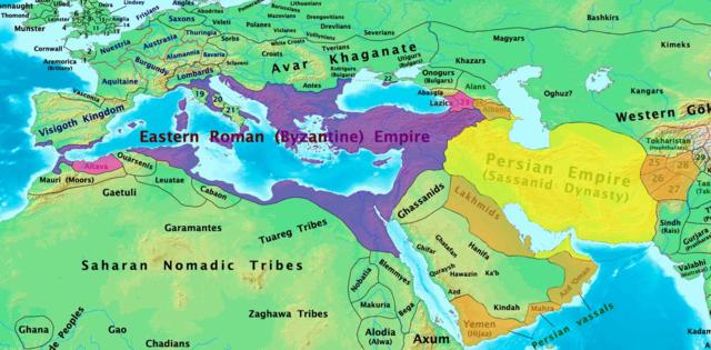 A Bizánci Birodalom és a Szászánida Birodalom 600-ban. Forrás: Wikipédia