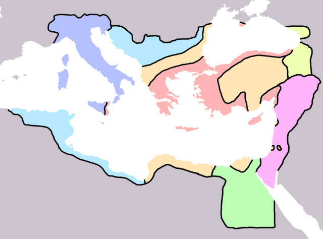 560-ban a Bizánci Birodalom nyelvi elosztása: Lila - latin Kék - latin és helyi Piros - görög Narancs - görög és helyi Sárga - örmény Rózsaszín - arámi Zöld - kopt  Forrás: Wikipédia