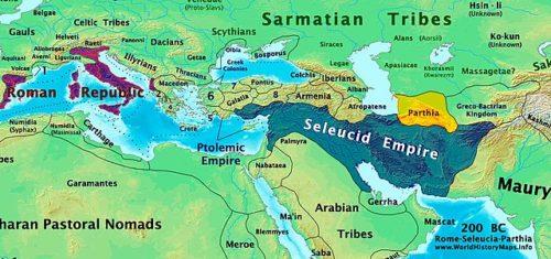 A Római Köztársaság és a Szeleukida Birodalom i. e. 200-ban. Sárgával a későbbi Pártus Birodalom őshazája. Forrás: Wikipédia