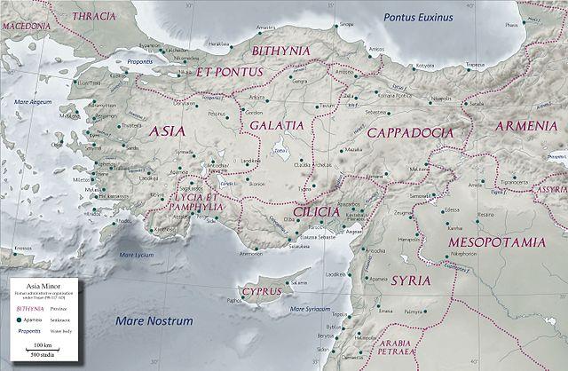 Anatólia a 2. században, Traianus uralkodása alatt elért legnagyobb méretben. Forrás: Wikipédia