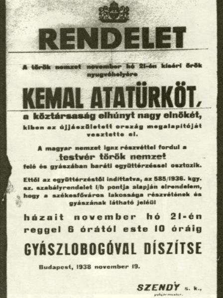 Rendelet Atatürk gyásznapjáról.