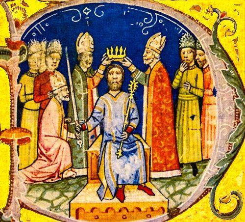 András király megkoronázása Képes krónika miniatúra Forrás: Wikipédia