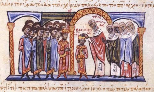 II. Baszileiosz bizánci császár koronázása
