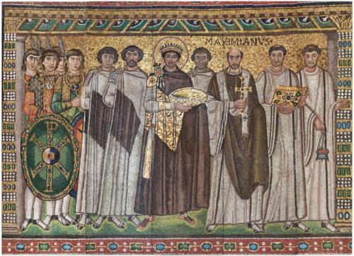 I. Iusztinianosz bizánci császár mozaik