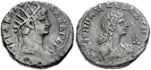 Néró császár és Poppaea Sabina egy pénzérmén. Forrás: Wikipédia