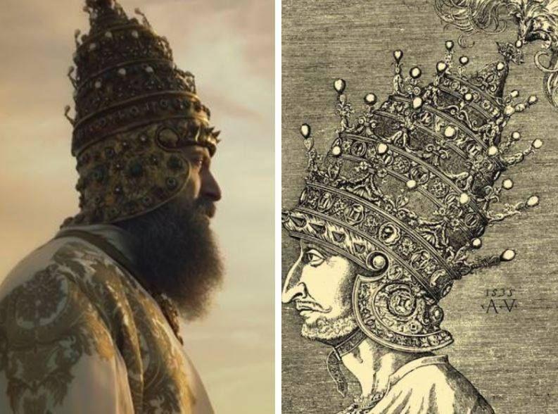 Szulejmán velencei koronája - 1535-ös rézmetszet, és a 2011-14 között forgatott Szulejmán (Muhteşem Yüzyıl) sorozatban.