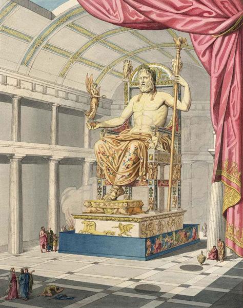 Pheidiasz olümpiai Zeusz-szobra Quatremère de Quincy ábrázolásában (1815). Forrás: Wikipédia