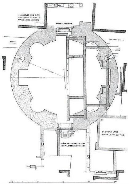 A Myrelaion rotunda alaprajza. Forrás: Arkeologálar Derneği (TT280)