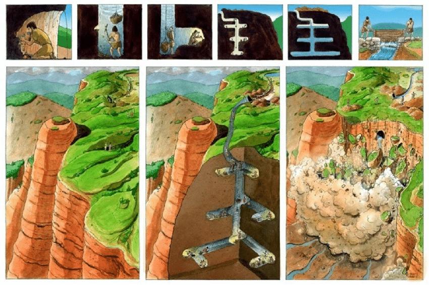 A ruina montium technika bemutató rajza. Illusztrátor: Hugo Prades Forrás: ResarchGate
